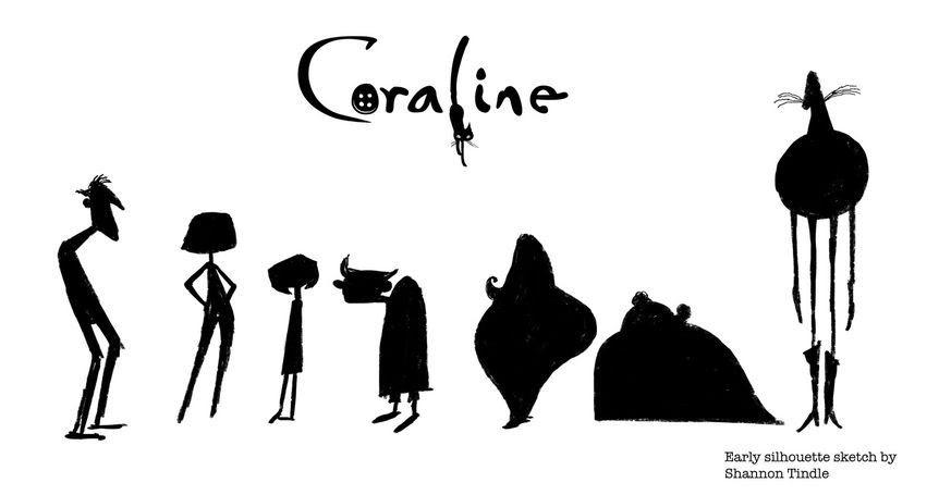 Силуэты персонажей мультфильма «Коралина»