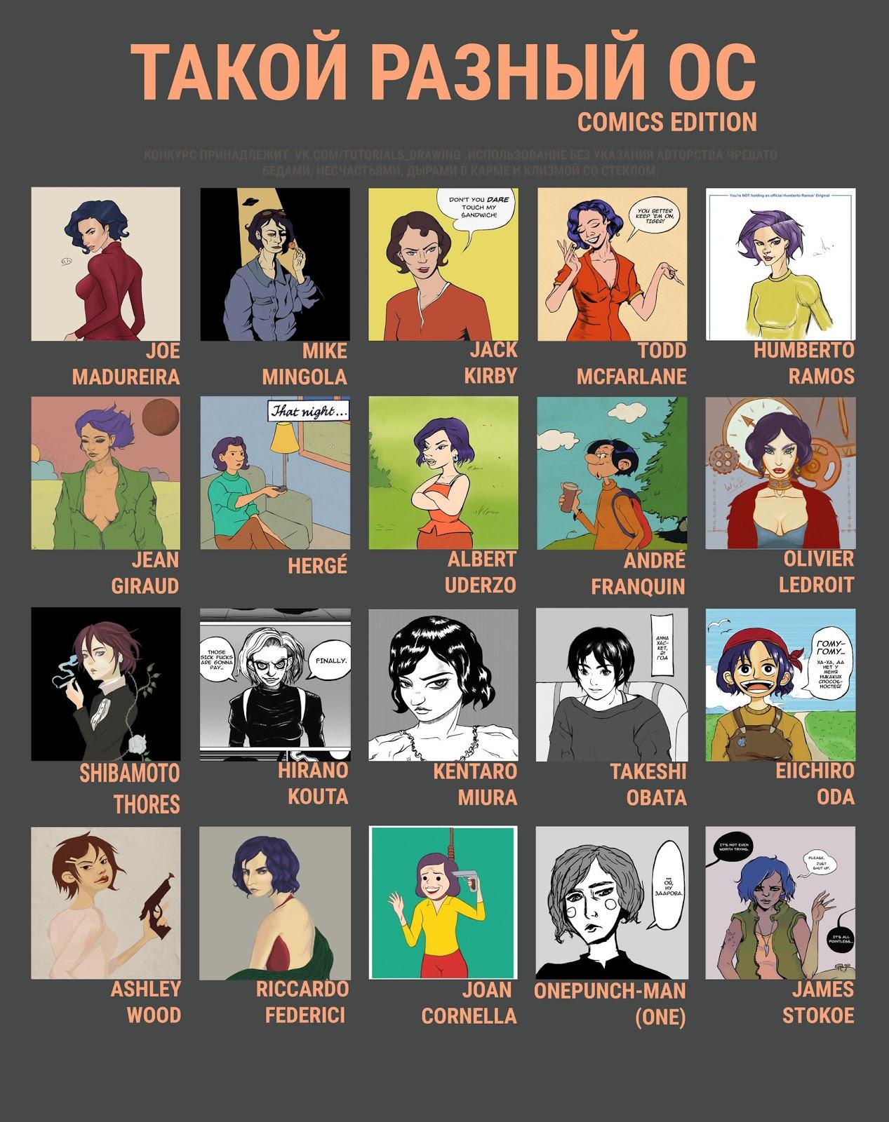 Изображение одного персонажа в разных стилях за авторством Анны Антоновой