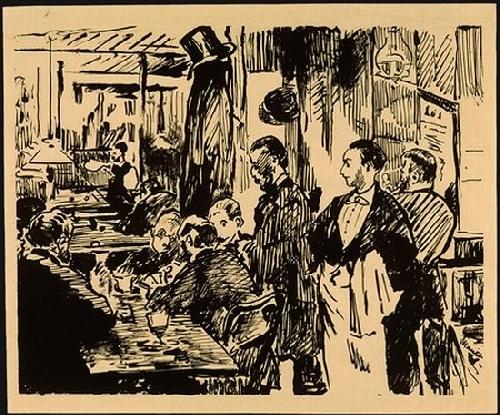 """Эдуар Мане, «В кафе """"Гербуа""""», 1869. Источник: www.degas-catalogue.com"""