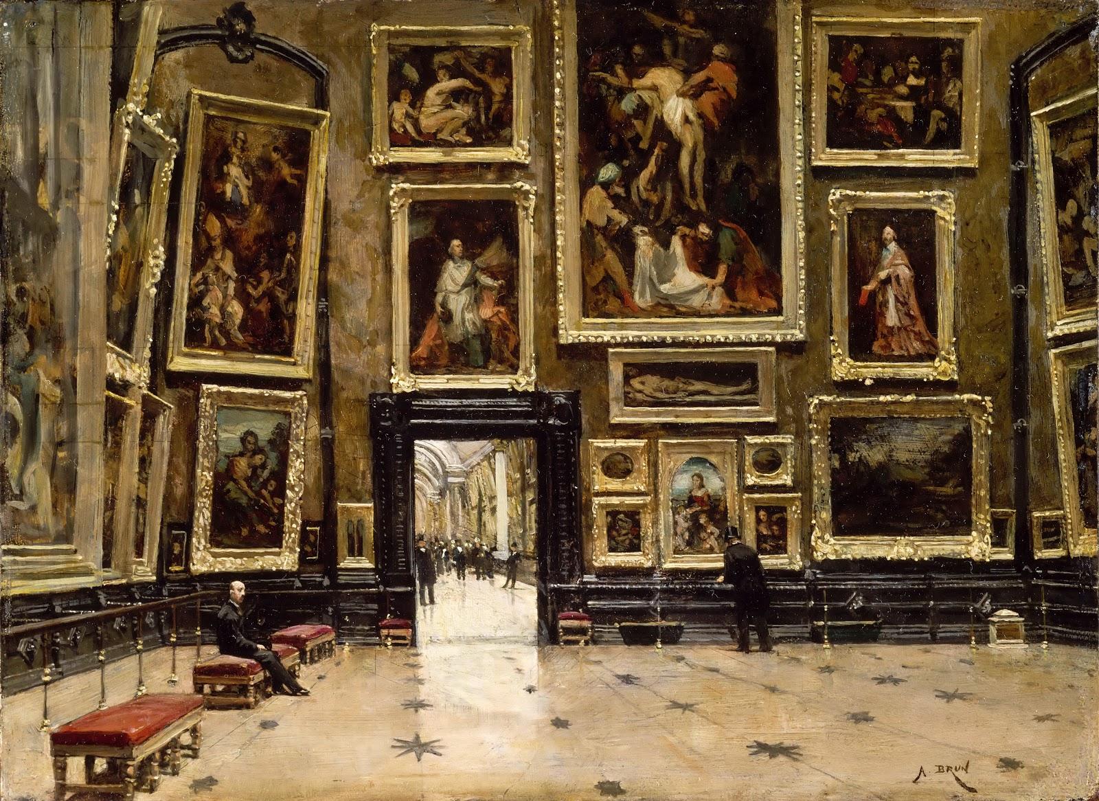 Александр Брюн «Вид на Салон Карре в Лувре», 1880. Источник: www.tuttartpitturasculturapoesiamusica.com