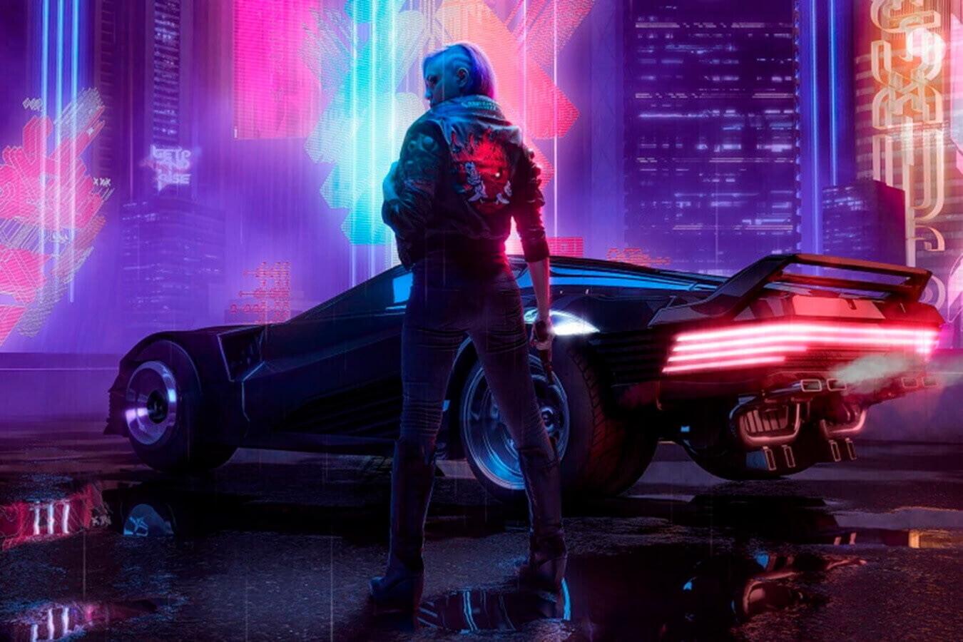 2. Кадр из Cyberpunk 2077. Для игры характерна темная гамма с неоновыми вставками. Источник: www.championat.com