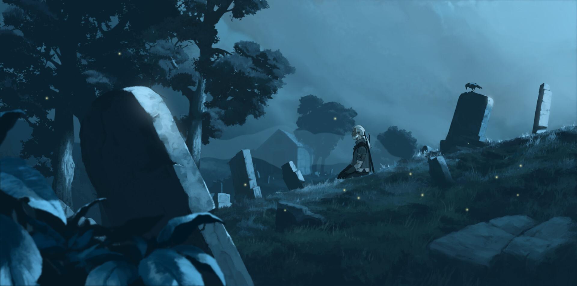 Для изображения ночи в CG традиционно используются синие оттенки. Автор Rostyslav Zagornov. Источник: www.artstation.com