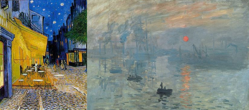 Слева: Винсент Ван Гог, «Ночная терраса кафе». В большинстве работ Ван Гога контраст между комплементарными цветами яркий и заполняет всю картину.     Справа: Клод Моне, «Впечатление. Восходящее солнце». Солнце изображено ярким акцентом, но контраст между оттенками не забирает на себя все внимание.