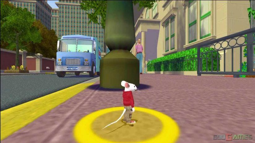 Кадр из игры «Стюарт Литтл». Поскольку мышонок гораздо меньше человека, перспектива искажается сильнее