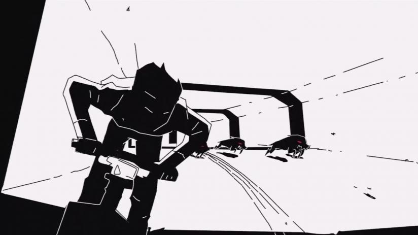 Кадр из клипа Siames — The Wolf. Даже на неподвижном скриншоте линии помогают считать движение и делают сцену напряженнее